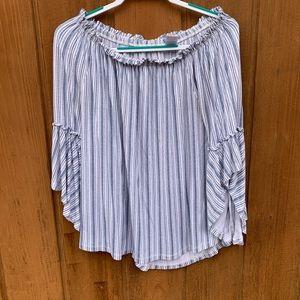 •preppy off the shoulder blouse•
